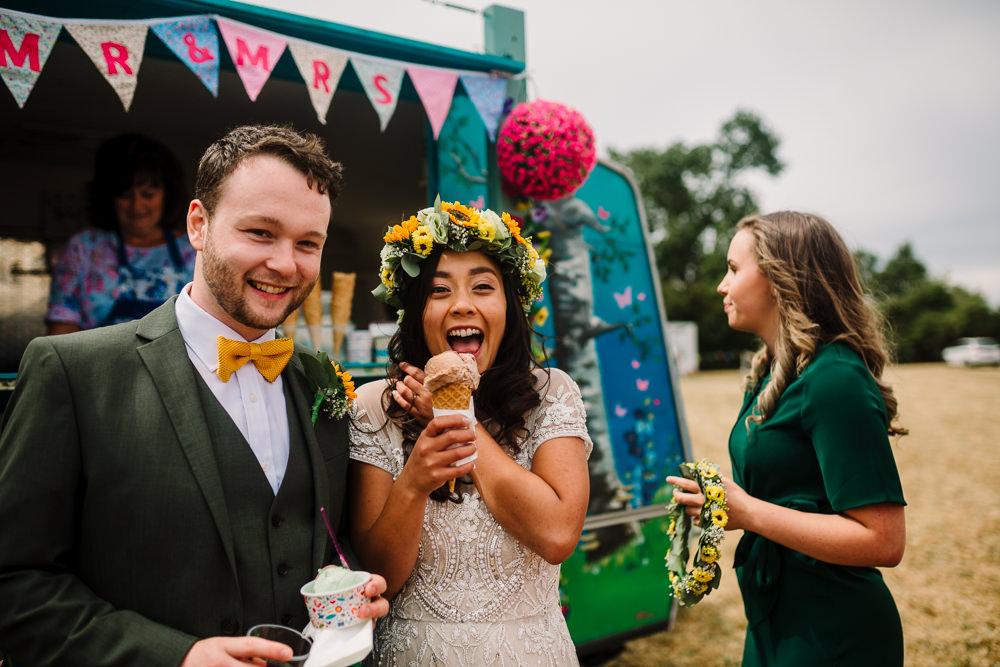 Ice Cream Van Truck Fun Colourful Festival Camp Wedding Rachel Burt Photography