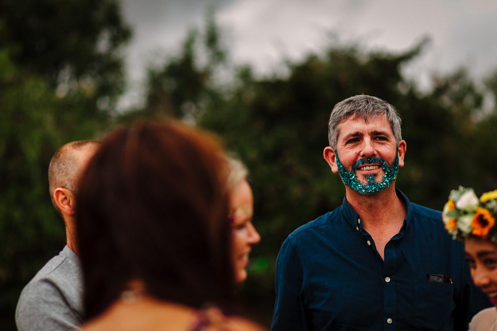 Glitter Beard Fun Colourful Festival Camp Wedding Rachel Burt Photography