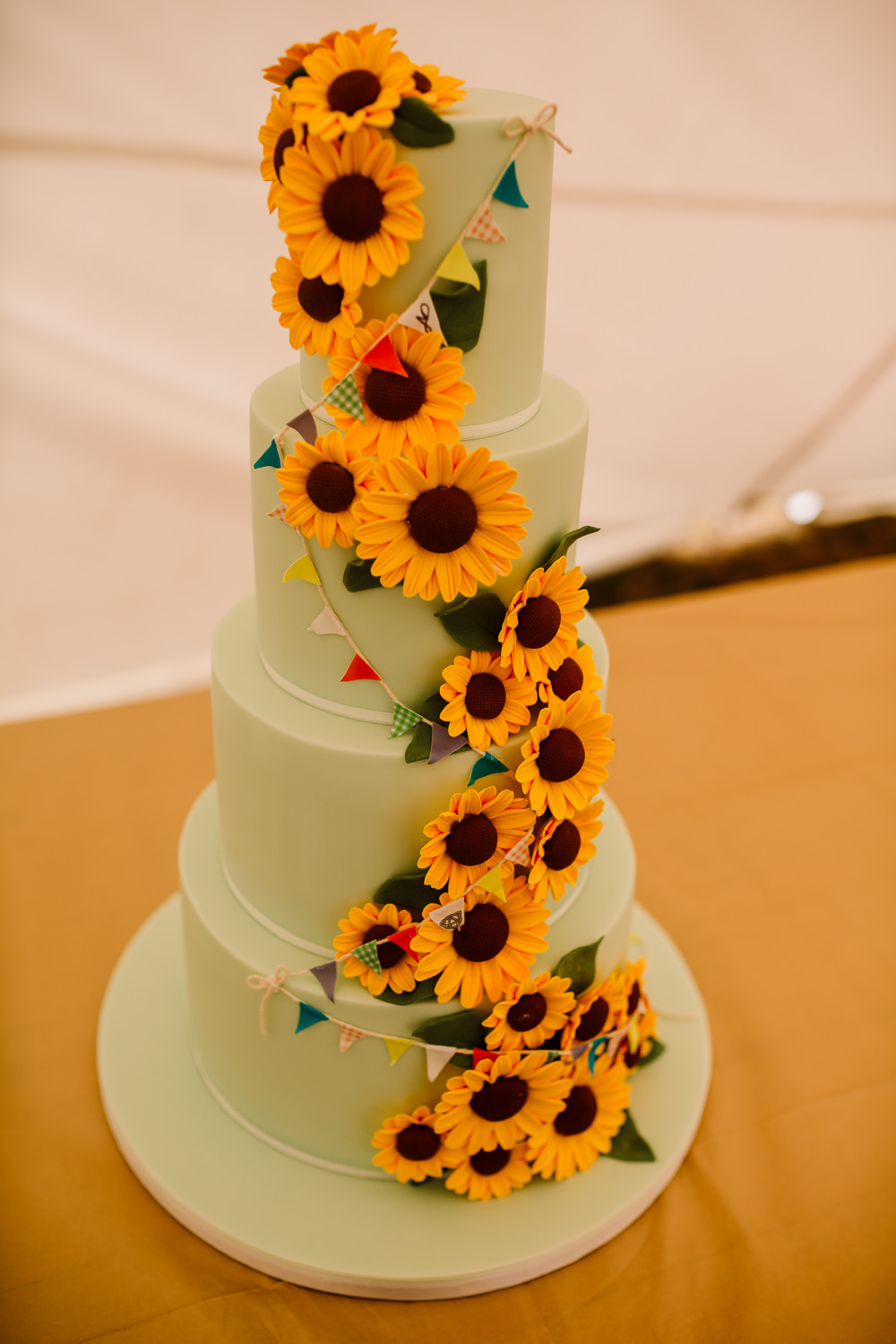 Green Yellow Sunflowers Bunting Cake Fun Colourful Festival Camp Wedding Rachel Burt Photography