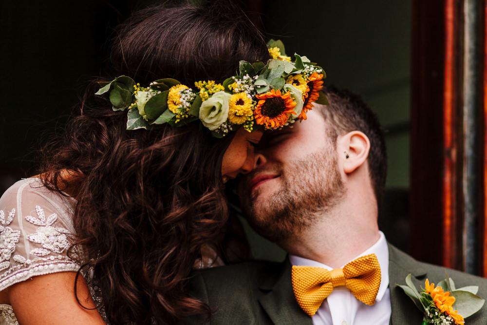 Groom Mustard Yellow Bow Tie Fun Colourful Festival Camp Wedding Rachel Burt Photography