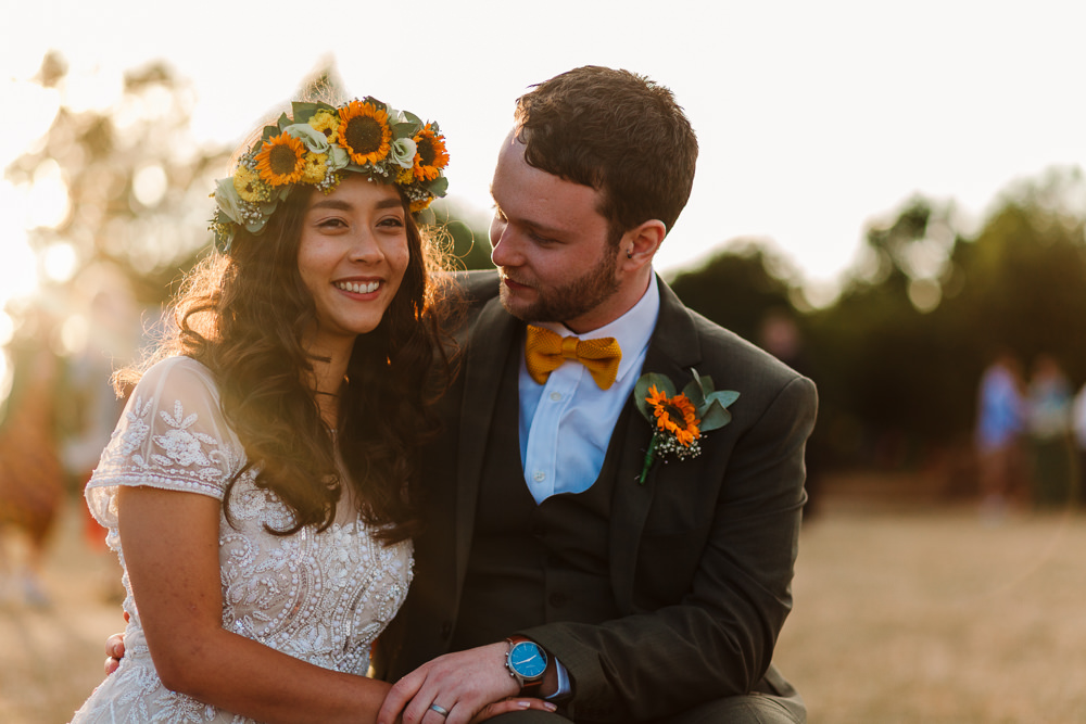 Groom Suit Yellow Bow Tie Mustard Sunflower Buttonhole Fun Colourful Festival Camp Wedding Rachel Burt Photography