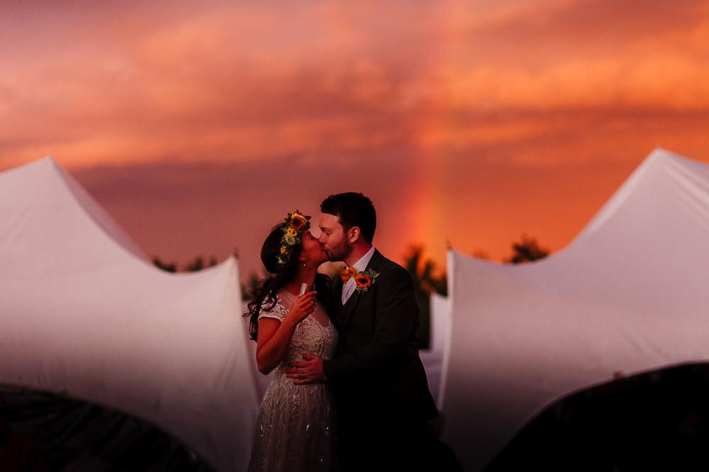 Rainbow Bride Groom Fun Colourful Festival Camp Wedding Rachel Burt Photography