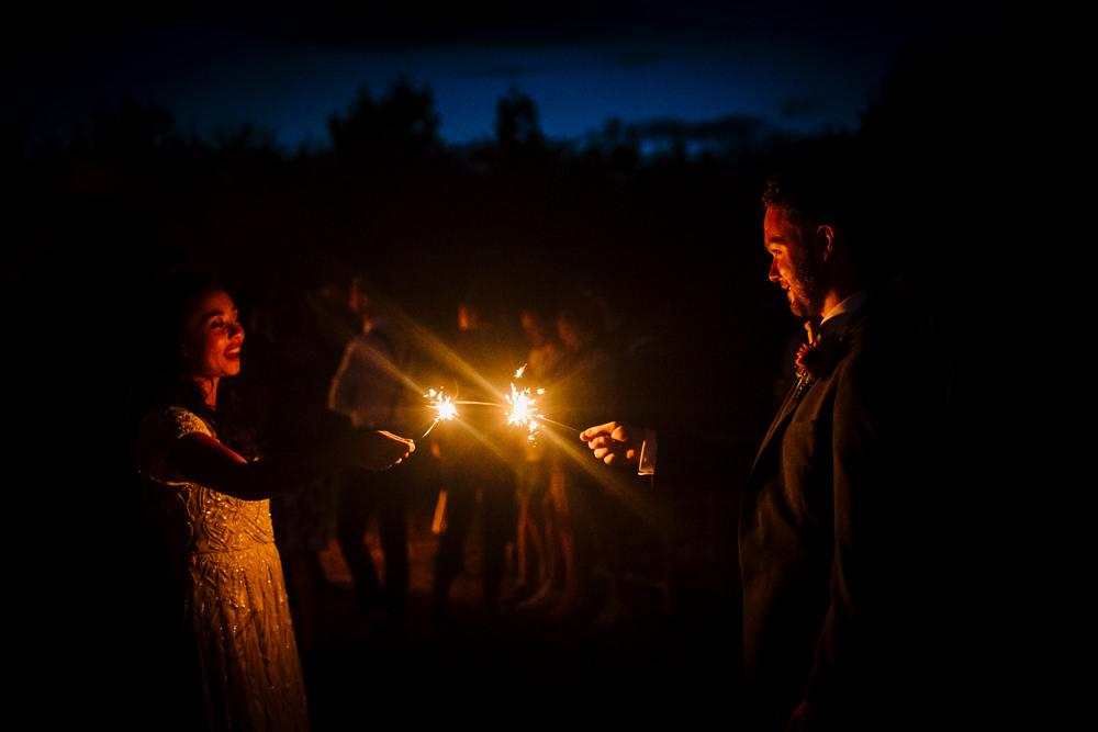 Sparkler Evening Fun Colourful Festival Camp Wedding Rachel Burt Photography