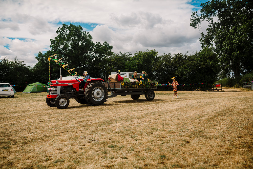 Tractor Trailer Transport Fun Colourful Festival Camp Wedding Rachel Burt Photography
