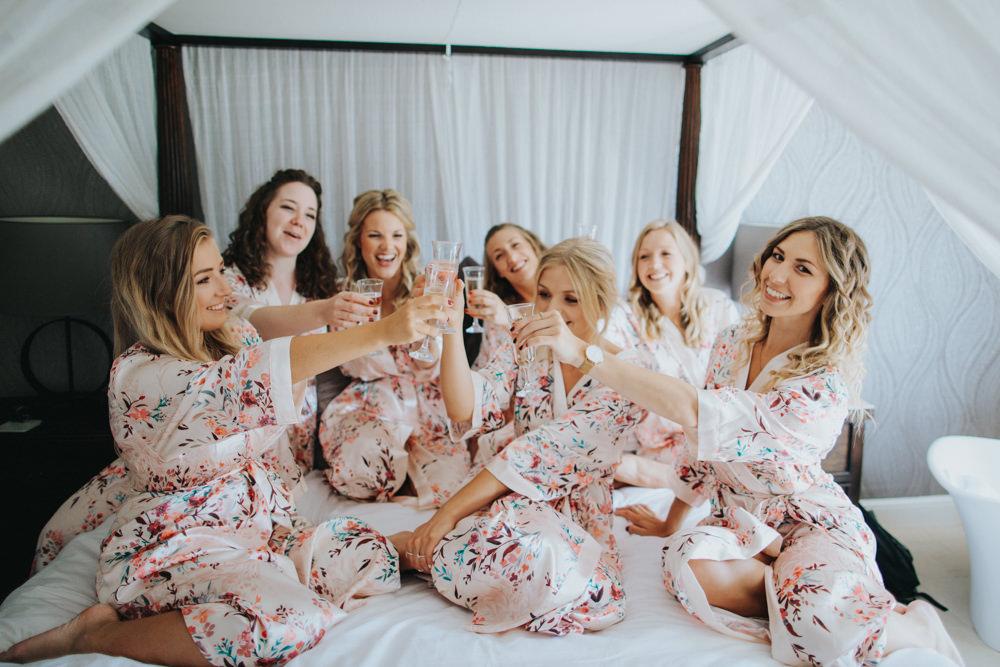 Bride Bridal Bridesmaid Prep PJs Godwick Great Barn Wedding Joshua Patrick Photography