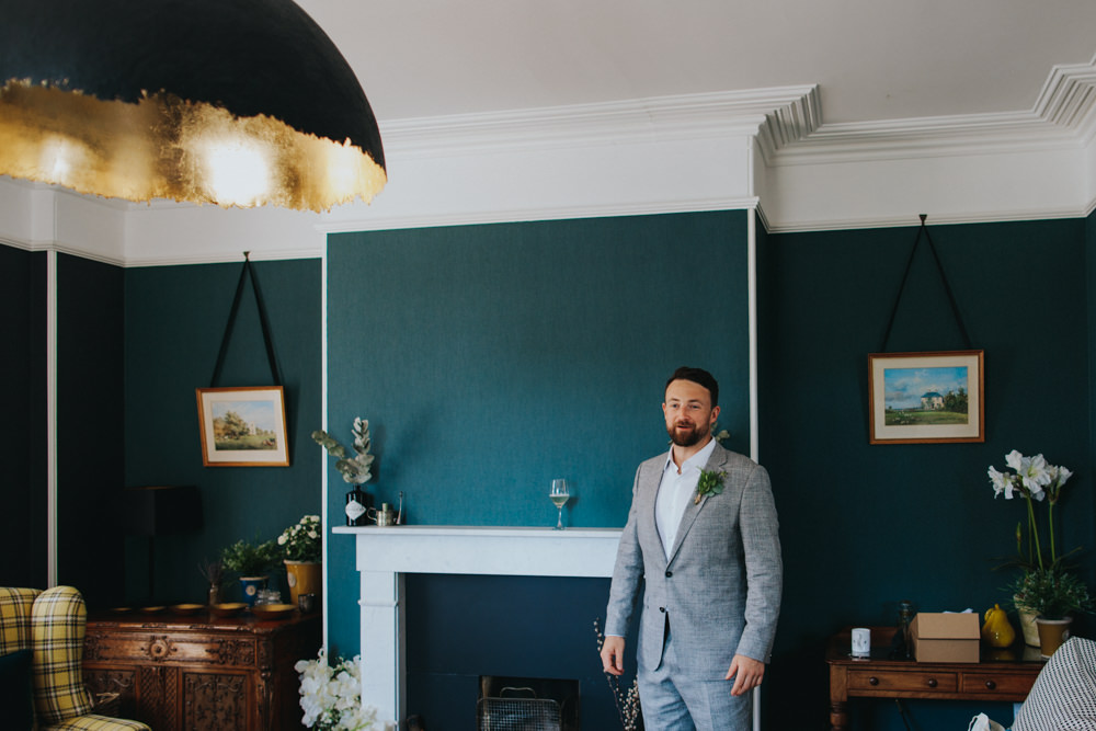 Groom Suit Grey Open Collar Shirt Godwick Great Barn Wedding Joshua Patrick Photography