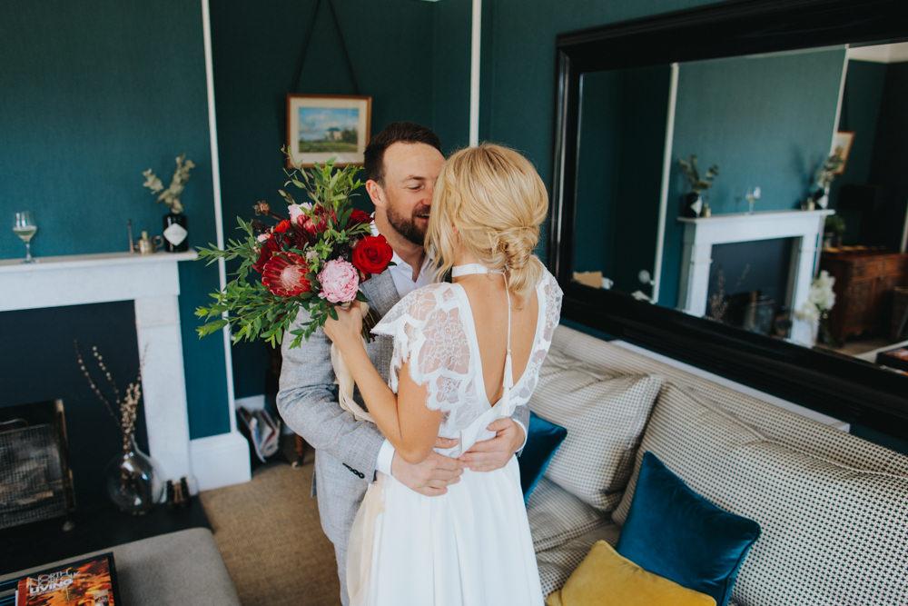 First Look Bride Groom Kiss Godwick Great Barn Wedding Joshua Patrick Photography
