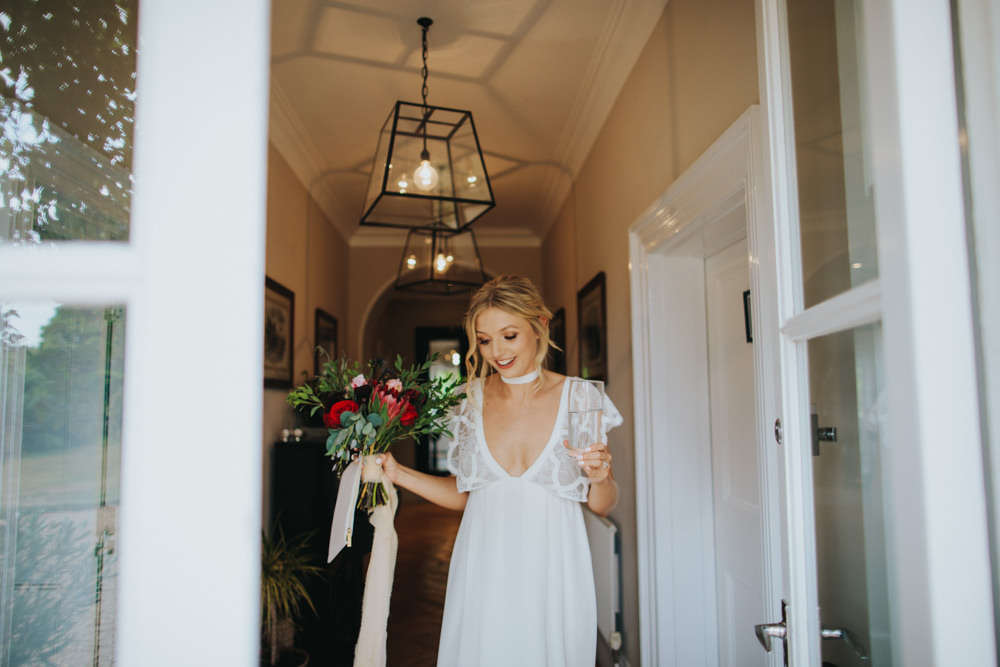 Grace Loves Lace Dress Gown Bride Bridal Sleeves Neckline Bohemian Godwick Great Barn Wedding Joshua Patrick Photography