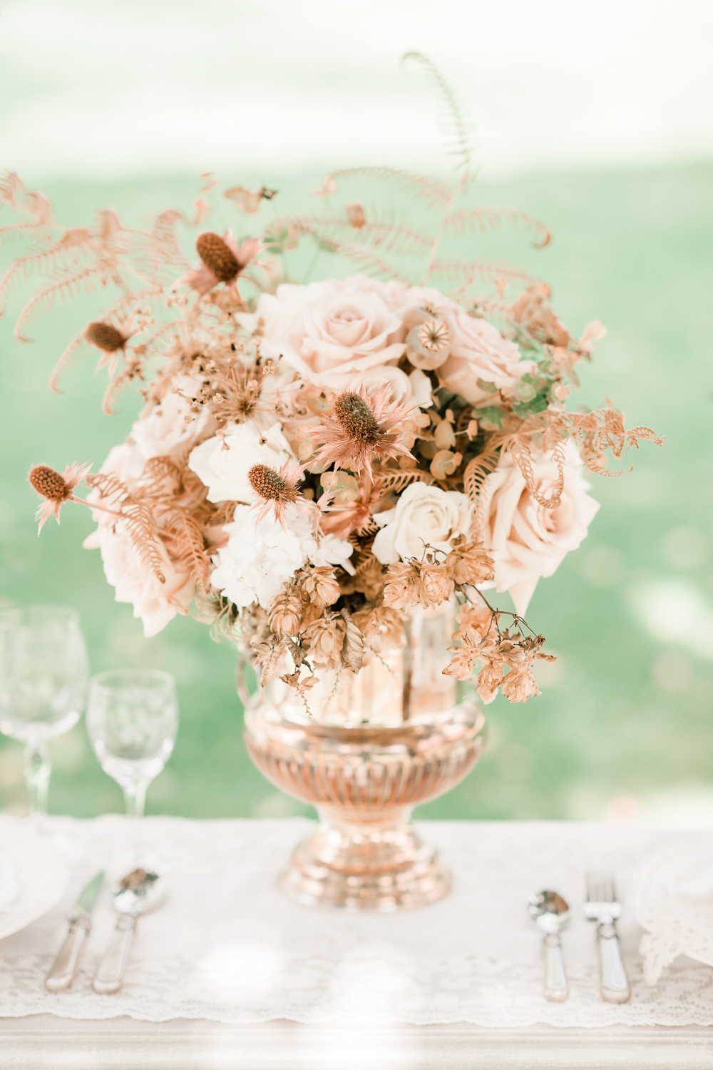 Flowers Rose Pale Pink Seed Heads Thistle Dried Copper Urn Table Centrepice Golden Autumnal Wedding Ideas Joanna Briggs Photography