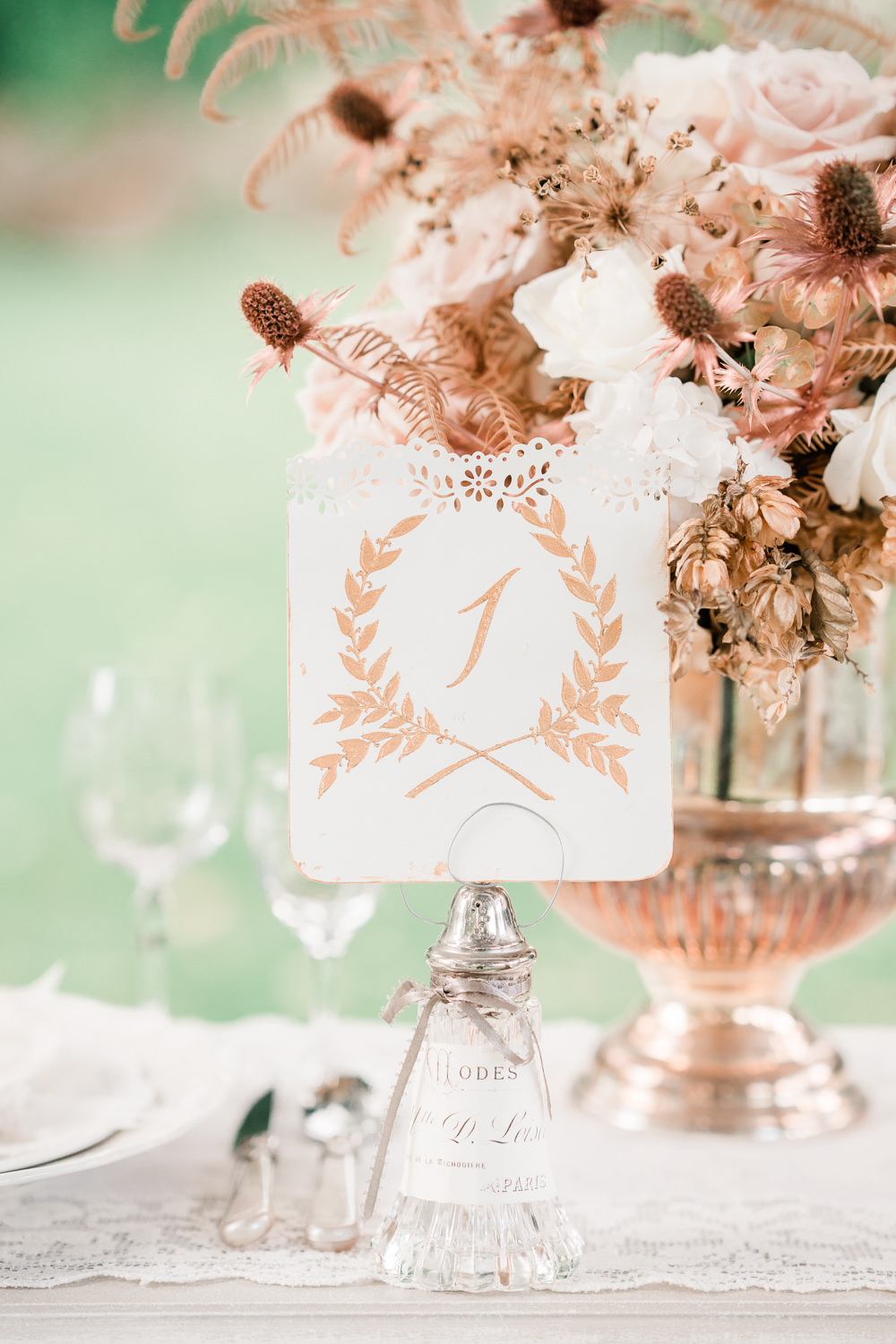Copper Gold Calligraphy Wreath Stationery Table Name Golden Autumnal Wedding Ideas Joanna Briggs Photography