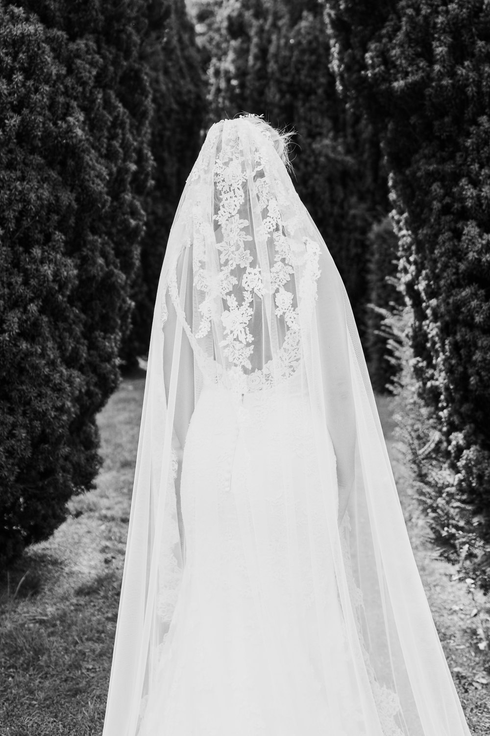 Dress Gown Fit Flare Lace Train Straps Bride Bridal Veil Golden Autumnal Wedding Ideas Joanna Briggs Photography