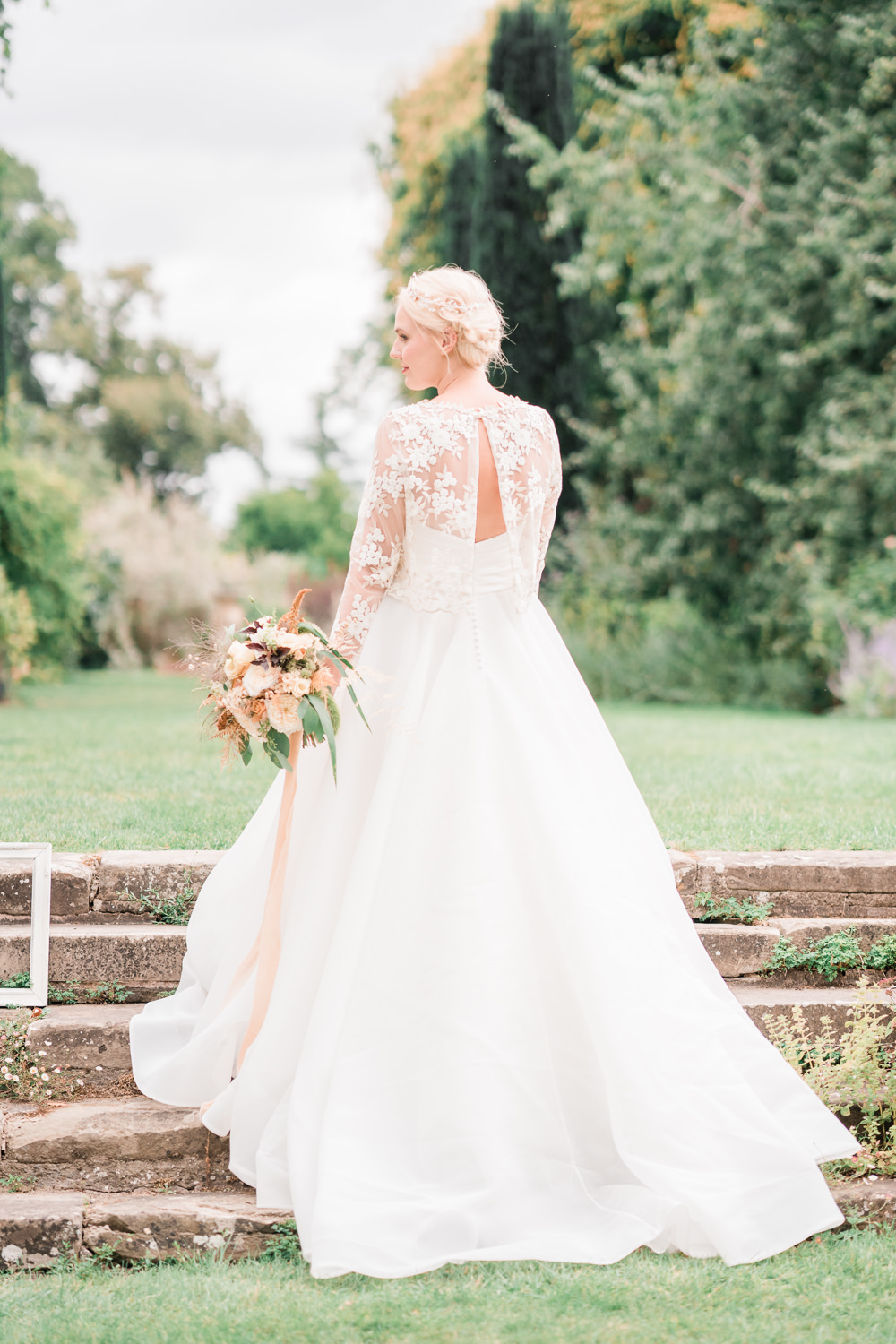 Dress Gown Silk Skirt Lace Top Train Straps Bride Bridal Golden Autumnal Wedding Ideas Joanna Briggs Photography