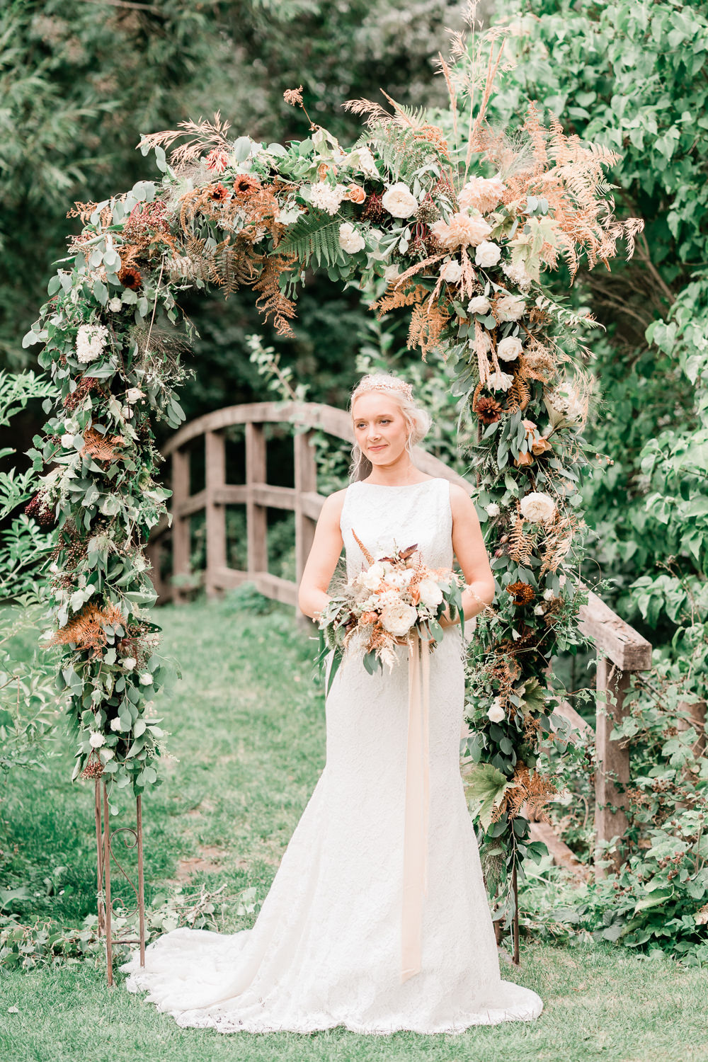 Flower Arch Floral Backdrop Ferns Grass Berries Dahlias Rose Roses and Dahlias Apricot Blush Copper Golden Autumnal Wedding Ideas Joanna Briggs Photography