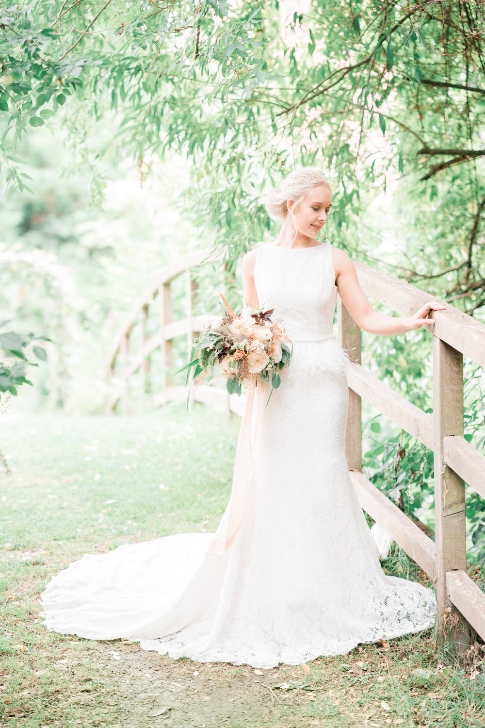 Dress Gown Fit Flare Lace Train Straps Bride Bridal Golden Autumnal Wedding Ideas Joanna Briggs Photography
