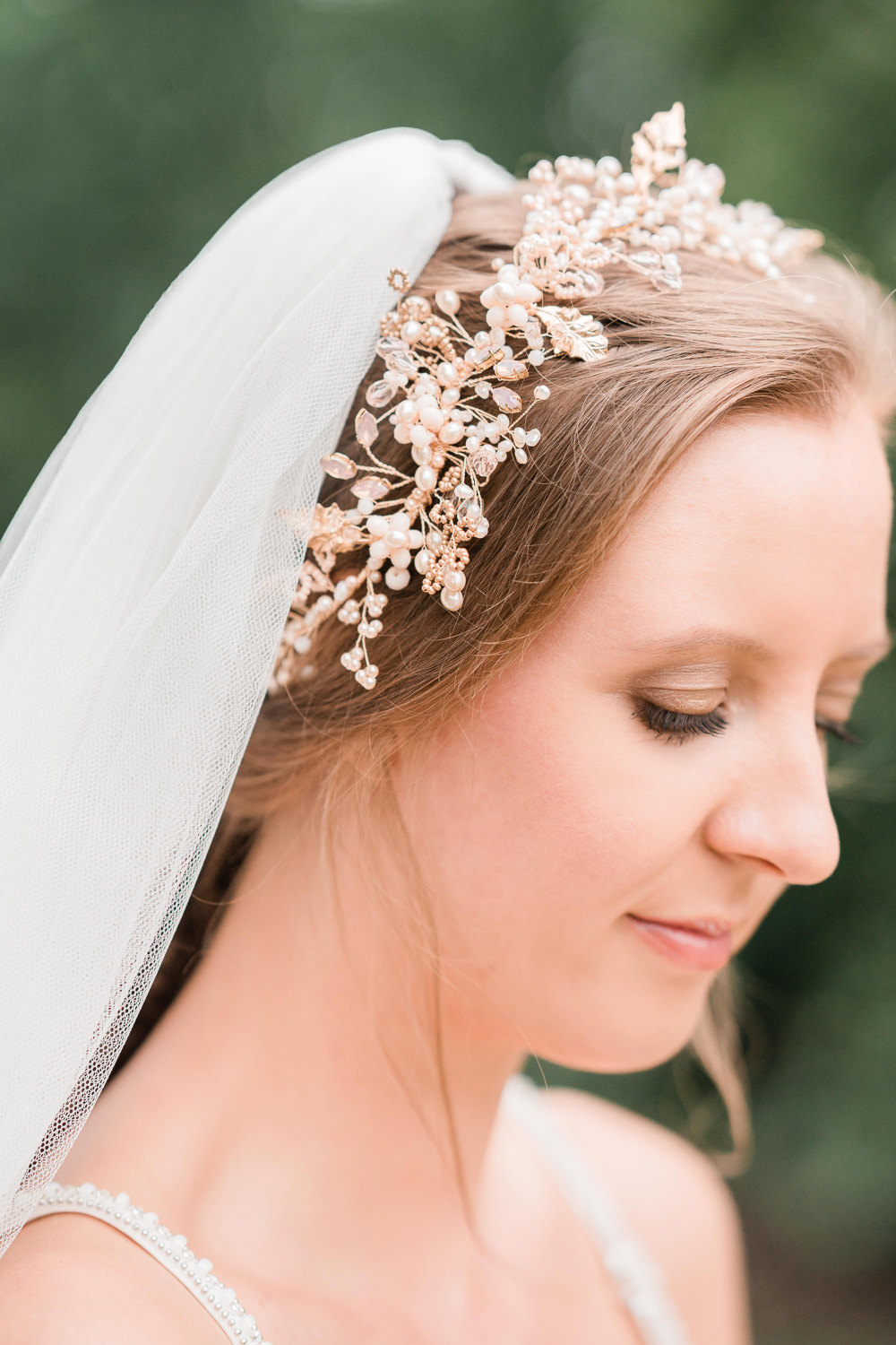 Bride Bridal Hair Up Do Accessory Veil Copper Golden Autumnal Wedding Ideas Joanna Briggs Photography