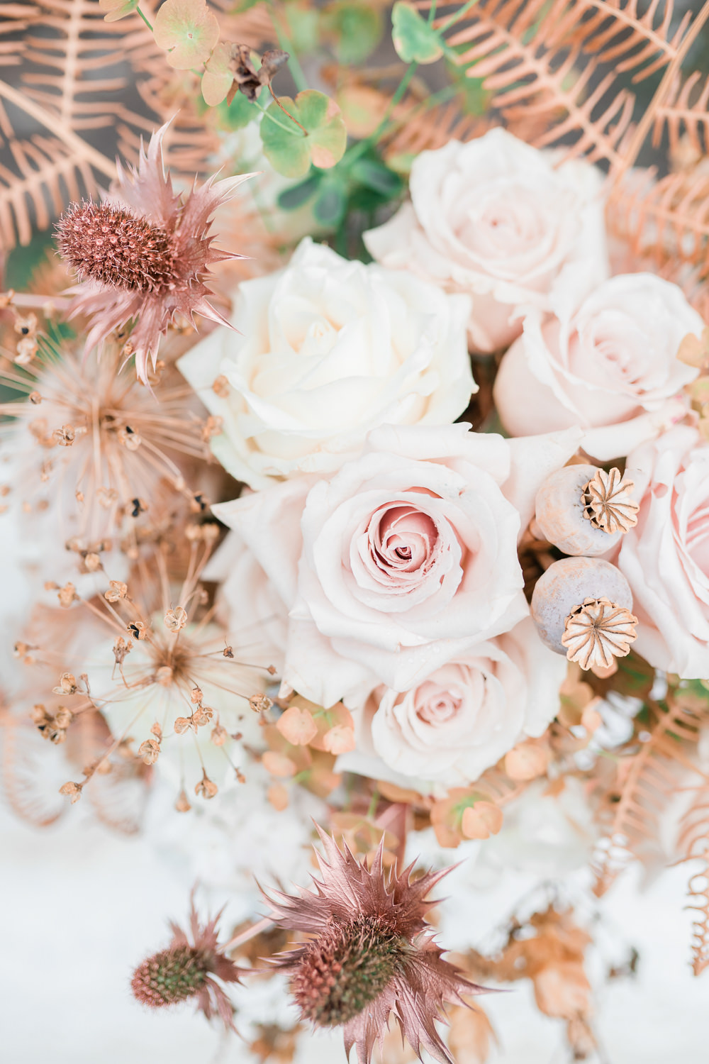Flowers Rose Pale Pink Seed Heads Thistle Golden Autumnal Wedding Ideas Joanna Briggs Photography