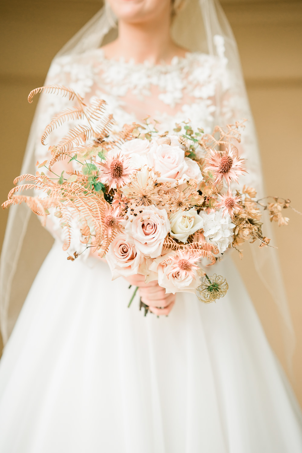 Bouquet Flowers Bride Bridal Blush Roses Dried Hydrangea Poppy Heads Copper Eringium Fern Grasses Seed Golden Autumnal Wedding Ideas Joanna Briggs Photography