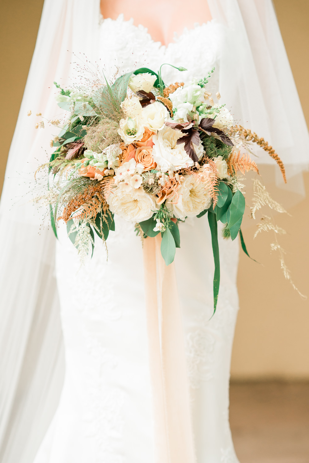 Ribbbons Bouquet Flowers Bride Bridal Millets Quaking Grass Briza Fountain Bracken Asparagus Fern David Austin Rose Phlox Amaranthus Eucalyptus Physocarpus Blush Apricot Cream Golden Autumnal Wedding Ideas Joanna Briggs Photography