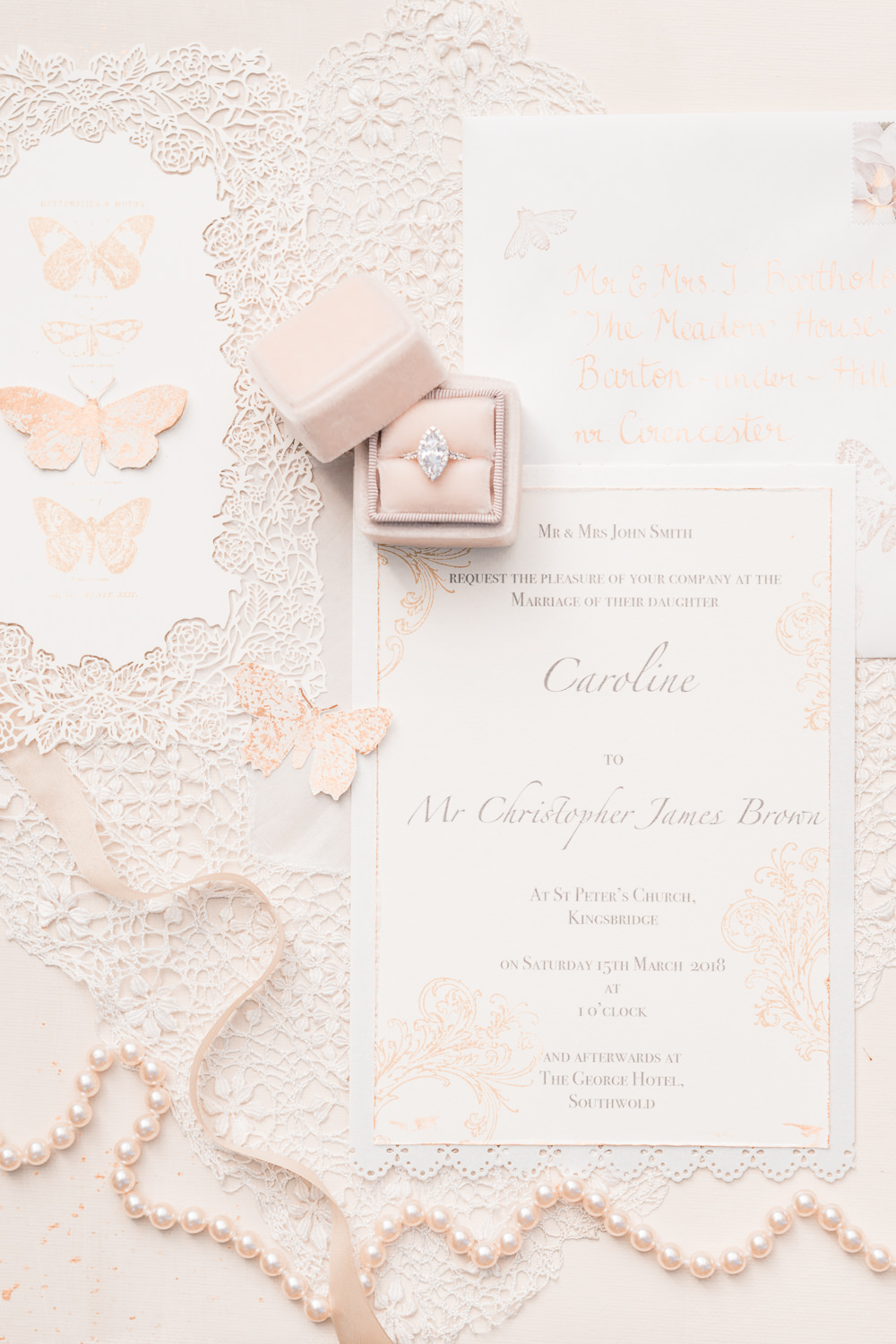 Stationery Suite Flat Lay Invites Invitations Butterlies Lace Pearls Blush Pink Golden Autumnal Wedding Ideas Joanna Briggs Photography