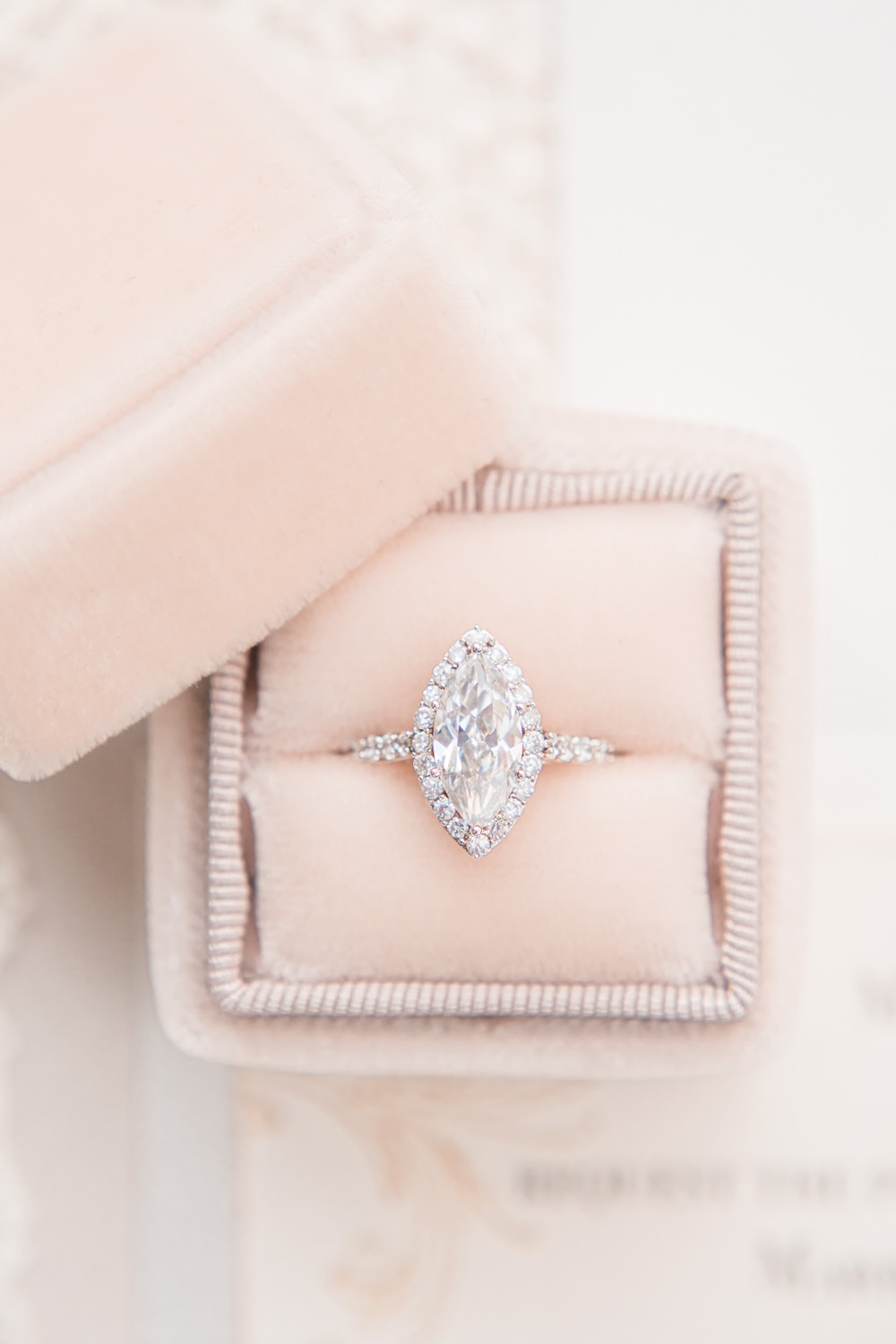 Velvet Ring Box Blush Marquise Diamond Engagement Ring Band Golden Autumnal Wedding Ideas Joanna Briggs Photography