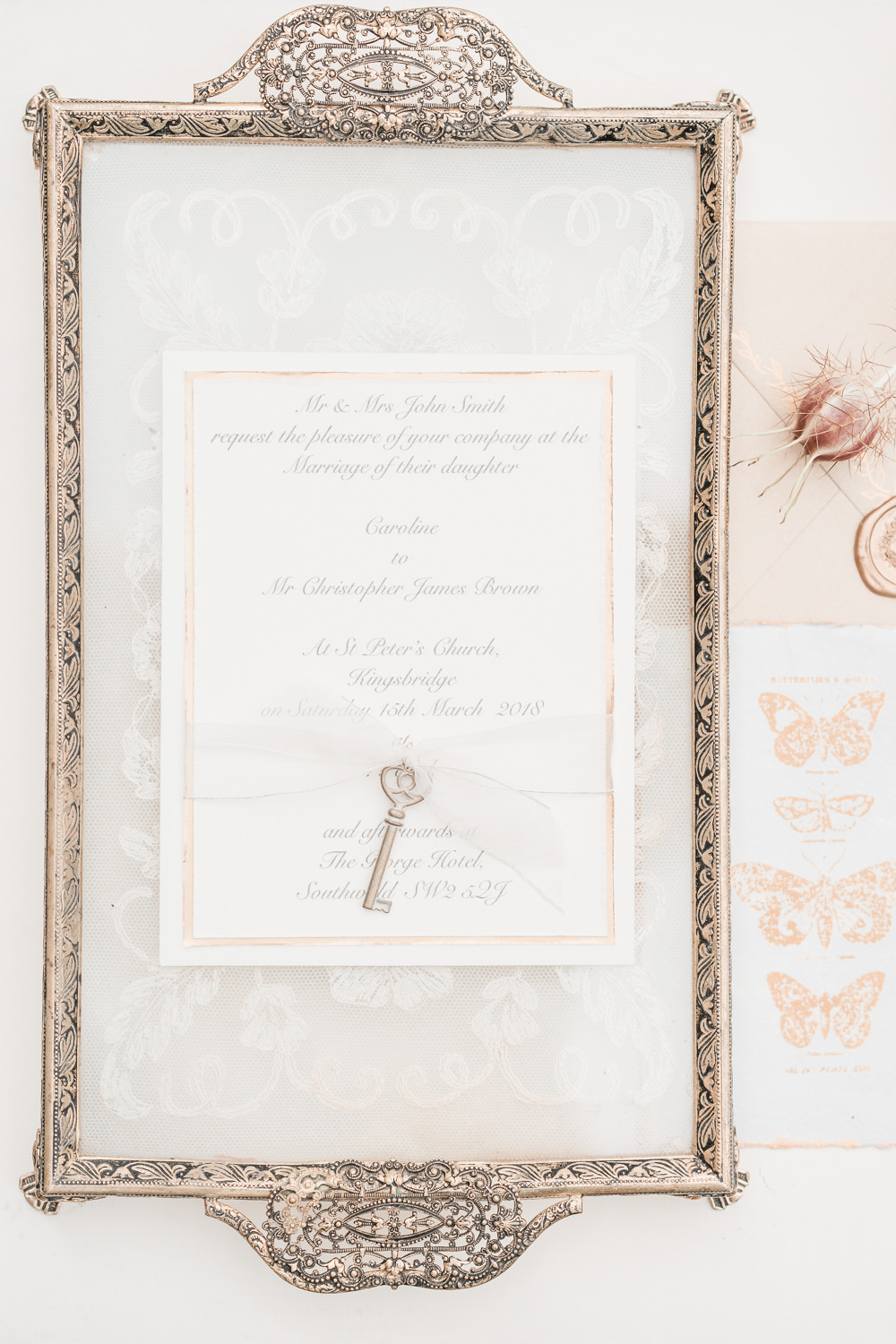 Pale Pink Blush Stationery Invite Invitation Key Ribbon Golden Autumnal Wedding Ideas Joanna Briggs Photography