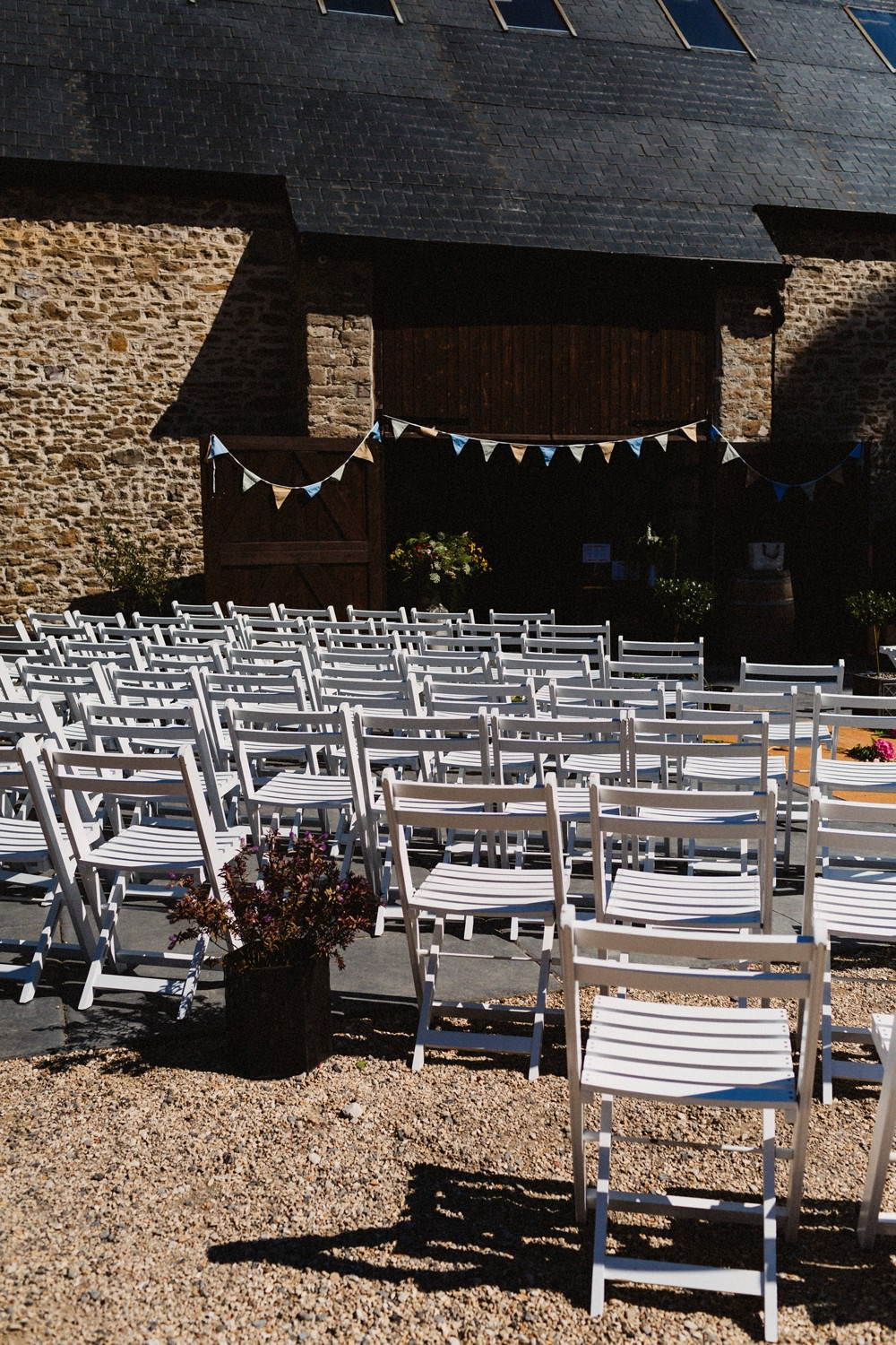 Outdoor Ceremony Set Up Flowers Chairs Bunting Gorwell Farm Wedding Jason Williams Photography