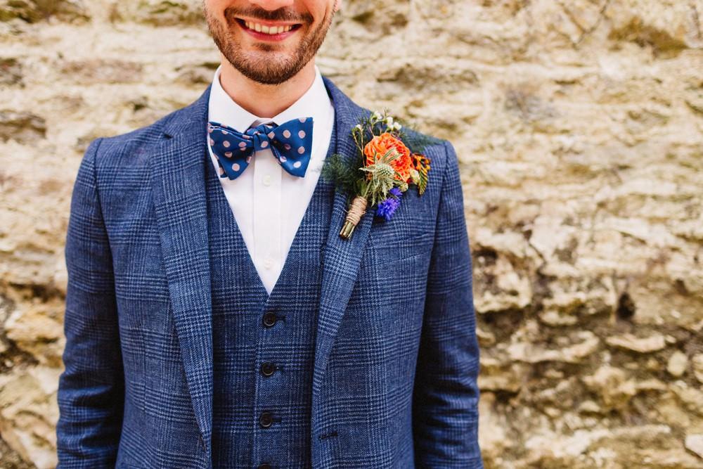 Groom Navy Suit Jacket Bow Tie Tan Chinos Groomsmen Buttonhole Flowers Gorwell Farm Wedding Jason Williams Photography