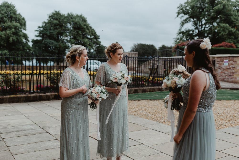 Green Sage Bridesmaids Embellished Mismatched Hobbit Hill Wedding Stevie Jay Photography