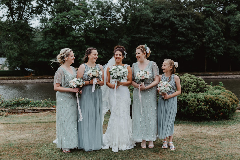 Bride Bridal Lace Overlay Straps Veil Sage Green Bridesmaids Mismatched Hobbit Hill Wedding Stevie Jay Photography