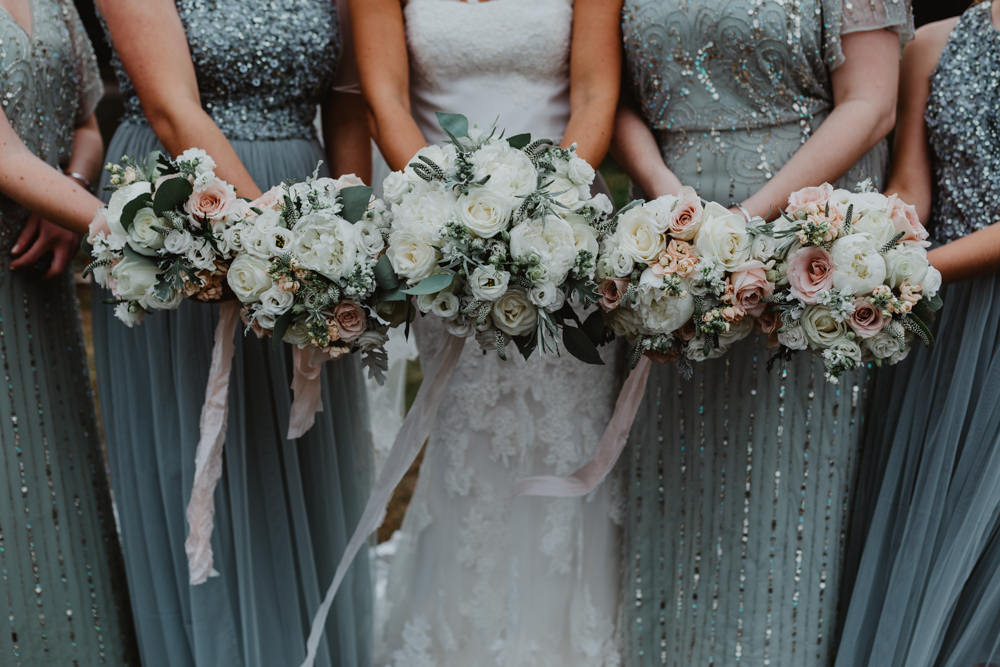 Bouquet Bride Bridal Rose Peony White Blush Ribbon Hobbit Hill Wedding Stevie Jay Photography