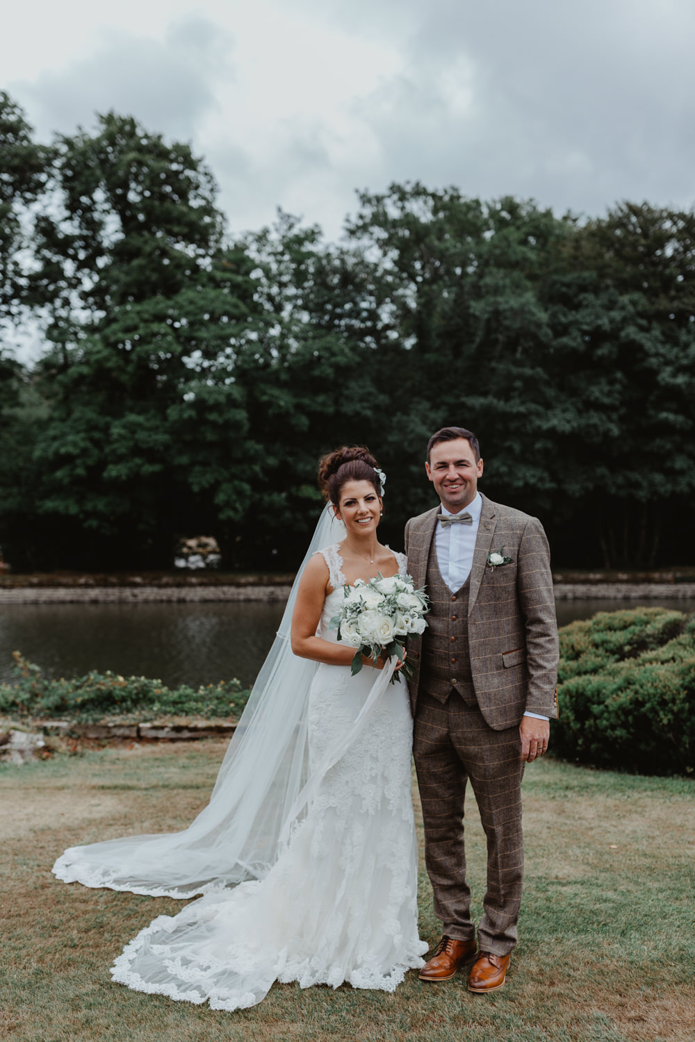 Bride Bridal Lace Overlay Straps Veil Tweed Three Piece Suit Waistcoat Groom Hobbit Hill Wedding Stevie Jay Photography