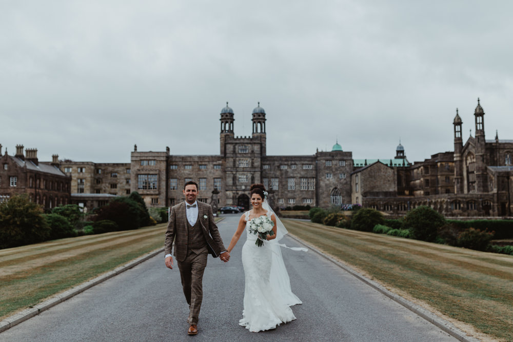 Bride Bridal Lace Overlay Straps Veil Tweed Three Piece Suit Waistcoat Hobbit Hill Wedding Stevie Jay Photography