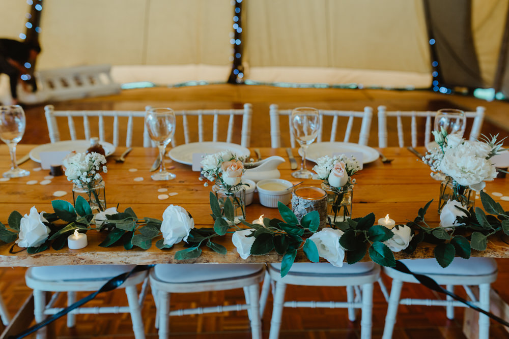 Top Table Garland Greenery Flowers Hobbit Hill Wedding Stevie Jay Photography