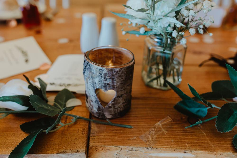 Wooden Heart Candle Holder Jam Jar Flowers Hobbit Hill Wedding Stevie Jay Photography