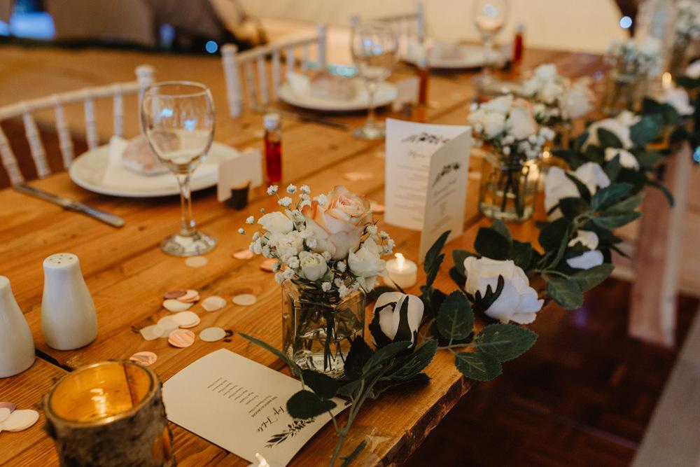 Top Table Runner White Flower Greenery Jam Jar Flowers Confetti Hobbit Hill Wedding Stevie Jay Photography