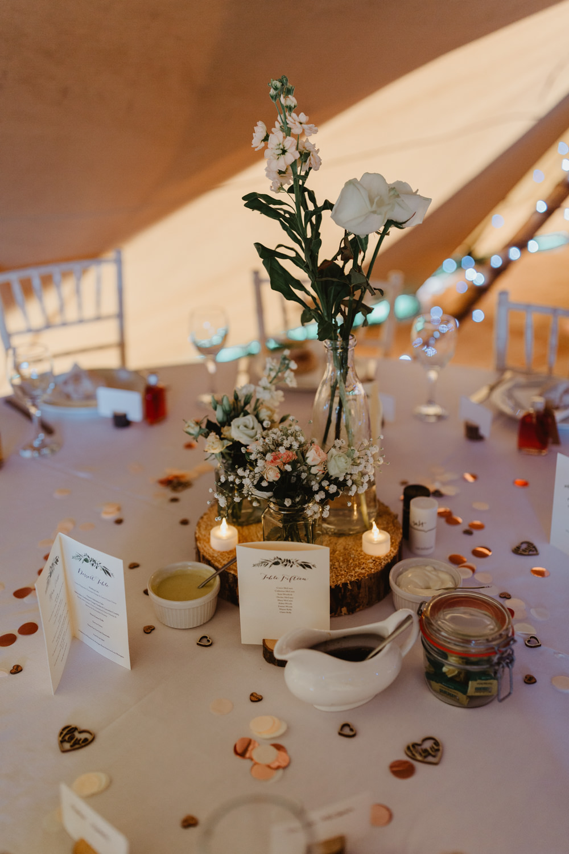 Wood Slice Log Table Centre Jam Jar Flowers Confetti Tealights Hobbit Hill Wedding Stevie Jay Photography