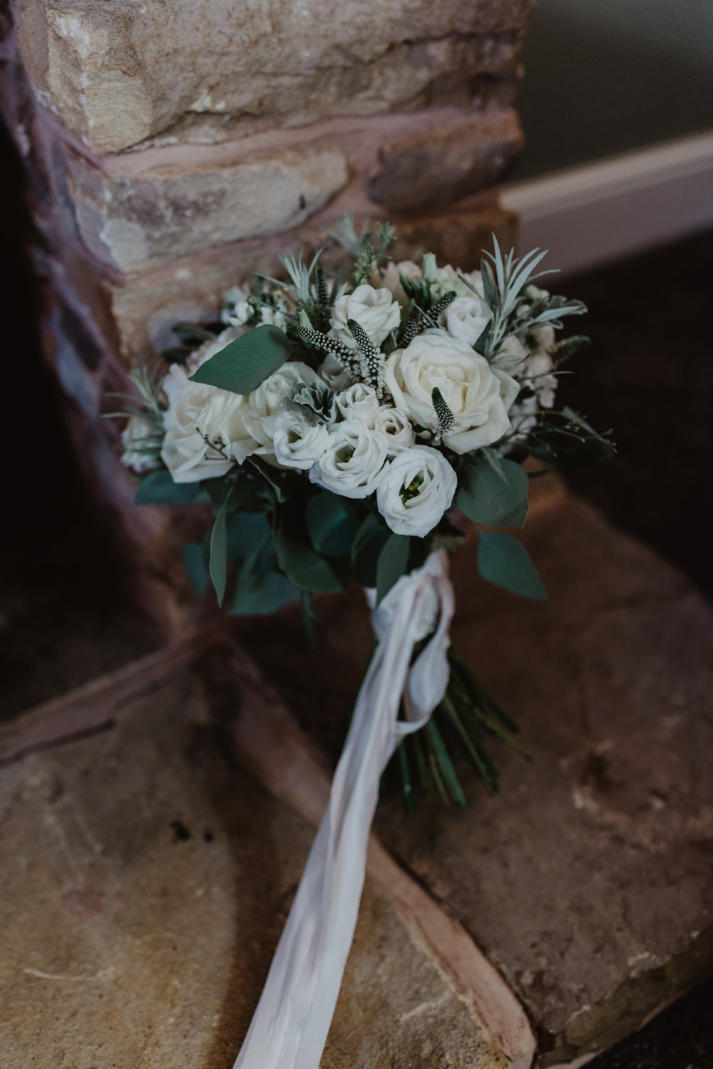 Bride Bridal Bouquet White Flowers Peony Rose Rosemary White Ribbon Hobbit Hill Wedding Stevie Jay Photography