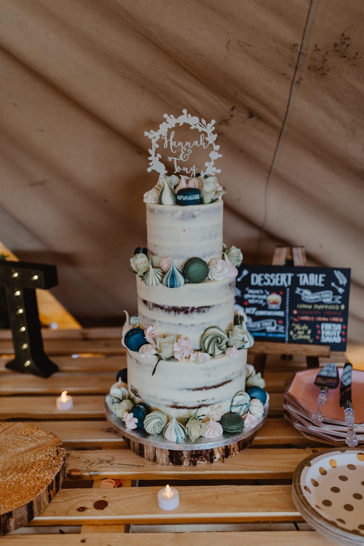 Semi Naked Buttercream Cake Meringue Kiss Topper Dessert Table Hobbit Hill Wedding Stevie Jay Photography