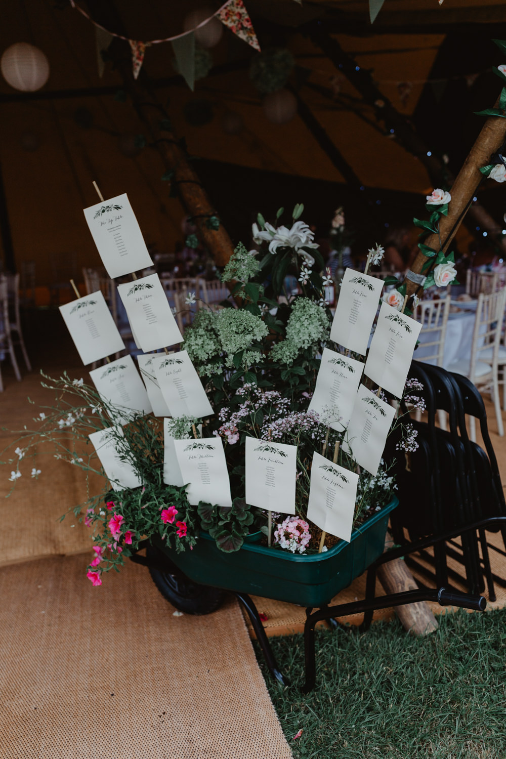Table Plan Seating Chart Wheelbarrow Plants Flowers Hobbit Hill Wedding Stevie Jay Photography