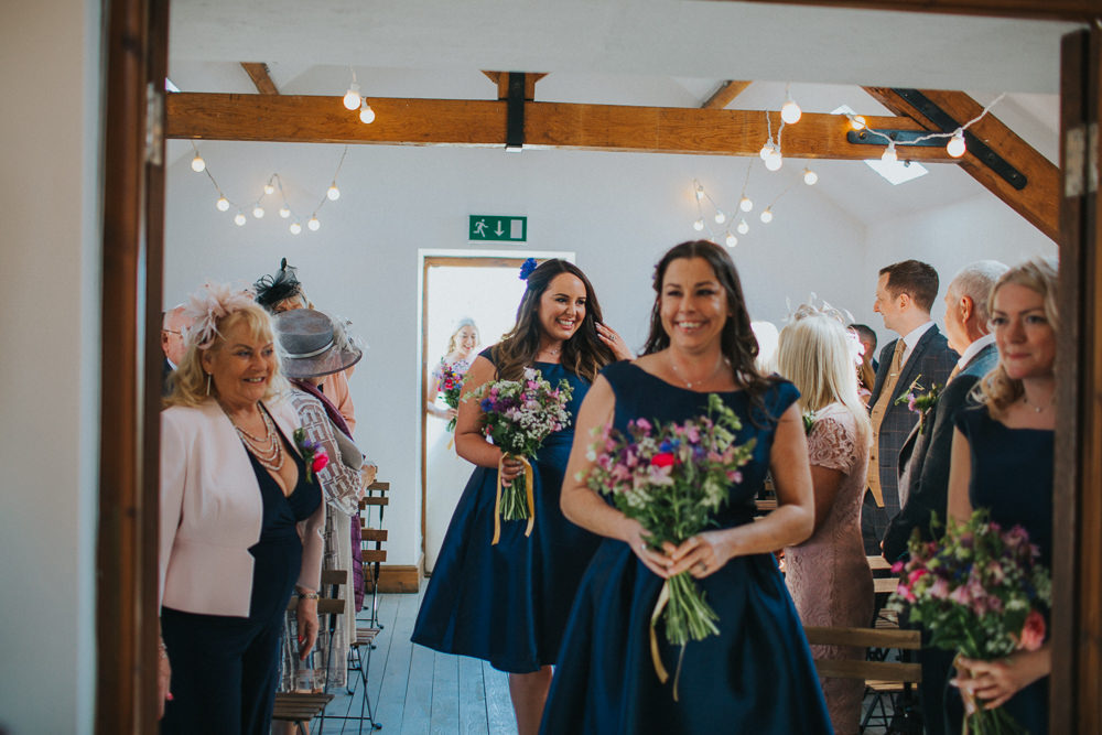 Bridesmaids Navy Silk 50s Dress Wildflower Bouquet Short Minnehaha Events Wedding Lisa Webb Photography