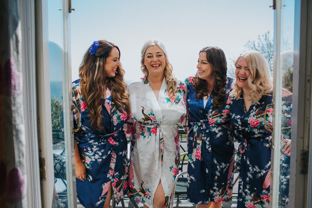 Bride Bridal Gown Floral Silk Robe Bridesmaids Minnehaha Events Wedding Lisa Webb Photography