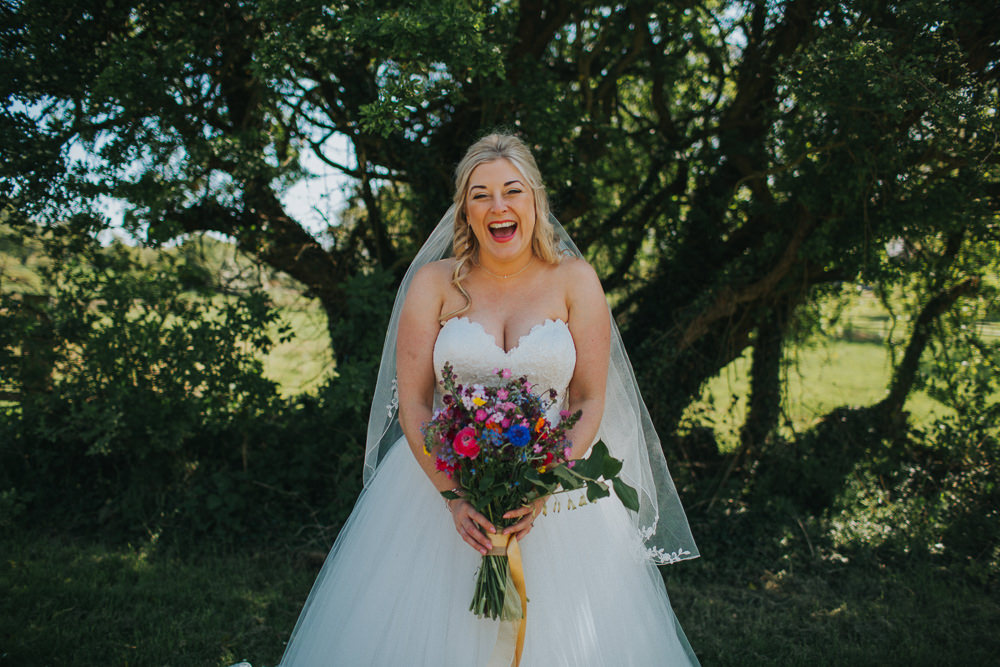 Bride Bridal Dress Gown Sweetheart Neckline Lace Princess A Line Veil Wildflower Meadow Bouquet Minnehaha Events Wedding Lisa Webb Photography