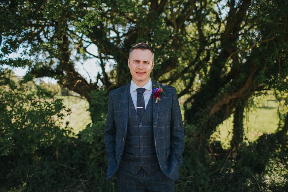 Three Piece Suit Groom Waistcoat Tweed Minnehaha Events Wedding Lisa Webb Photography
