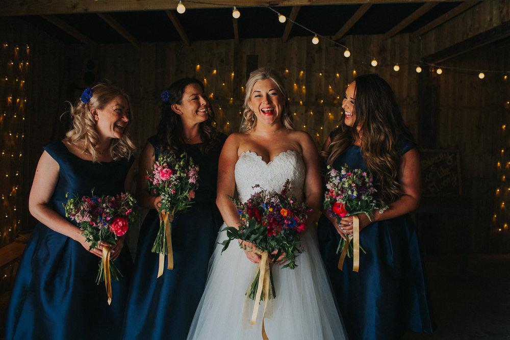 Bride Bridal Dress Gown Sweetheart Neckline Lace Princess A Line Blue Bridesmaids 50s Short Veil Wildflower Meadow Bouquet Minnehaha Events Wedding Lisa Webb Photography