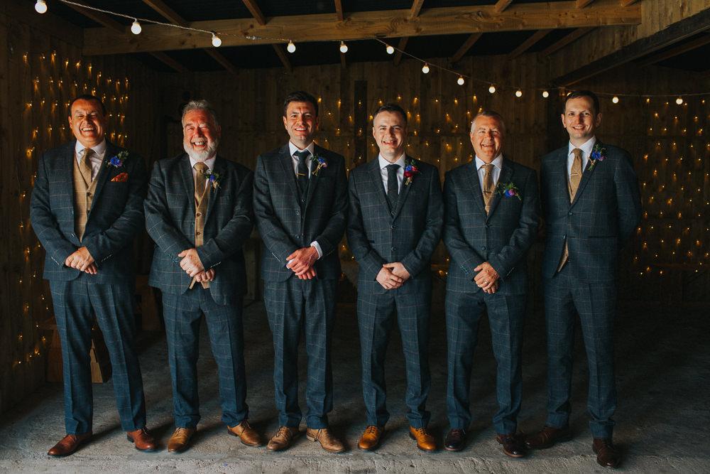 Tweed Suit Groom Groomsmen Three Piece Waistcoat Minnehaha Events Wedding Lisa Webb Photography