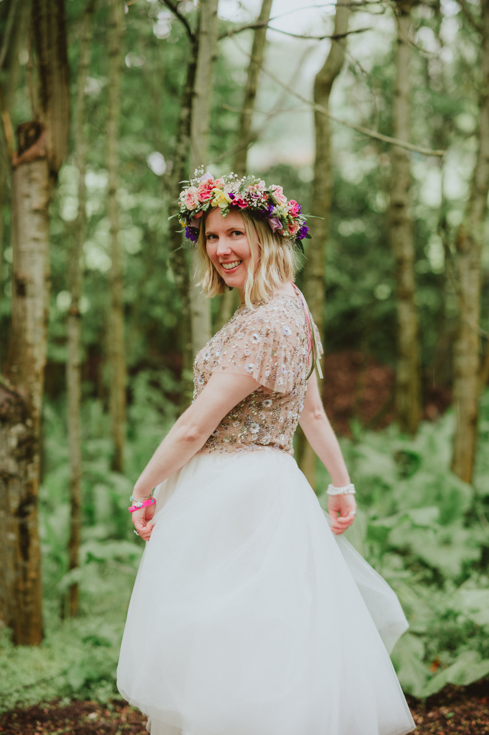 Tutu Bride Bridal Dress Gown Sleeves Emellished Sequin Pale Pink Embroidered Top Skirt Needle & Thread Flower Crown Plush Tents Glamping Wedding Big Bouquet Photography