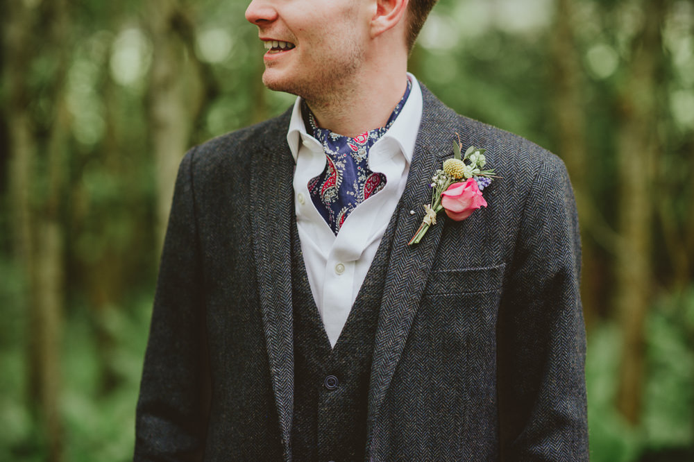 Silk Scarf Groom Suit Blue Jacket Red Trousers Waistcoat Plush Tents Glamping Wedding Big Bouquet Photography