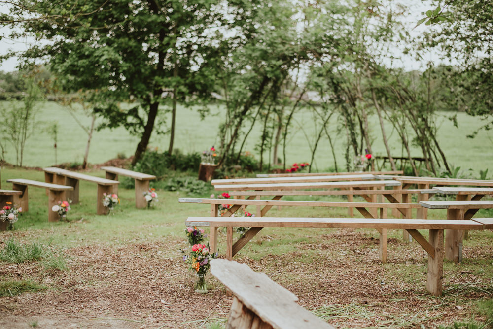 Ceremony Benches Plush Tents Glamping Wedding Big Bouquet Photography