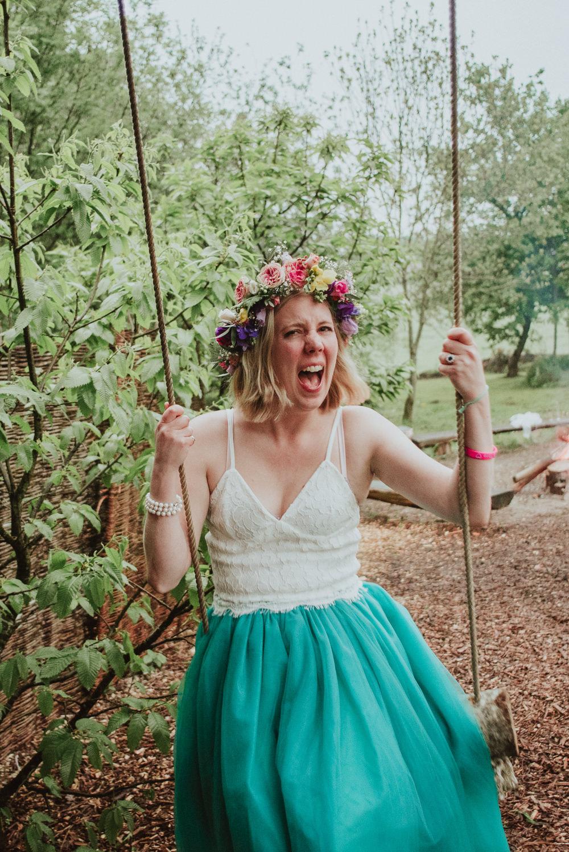 Bride Bridal Dress Gown Skirt Top Green Tutu Plush Tents Glamping Wedding Big Bouquet Photography