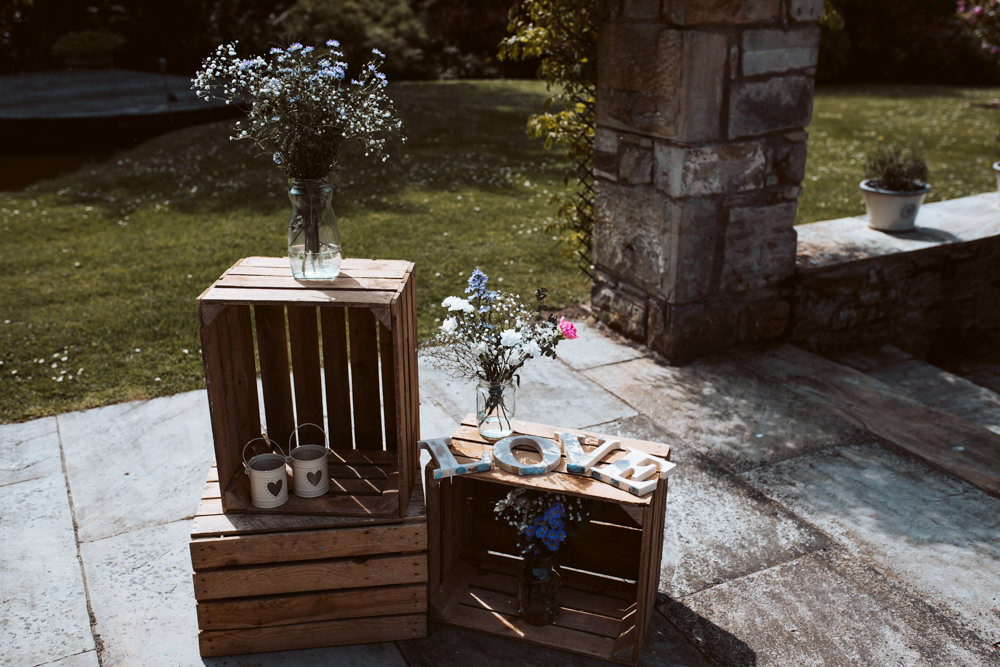 Wooden Crate Decor Flowers Windmill Barn Wedding Pocket Square Photography